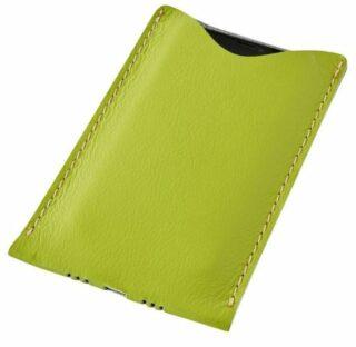Kožený obal na mobil - zelený