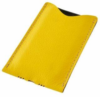 Kožený obal na mobil - žlutý