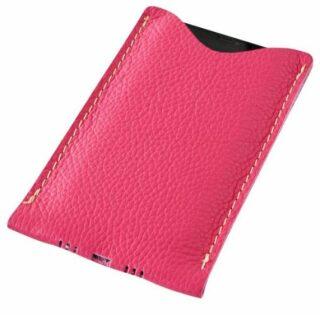 Kožený obal na mobil - růžový