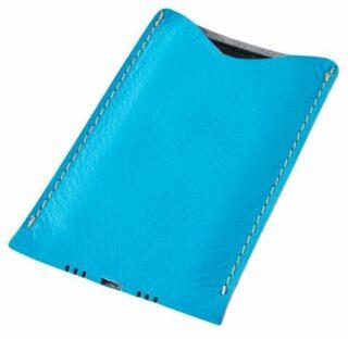 Kožený obal na mobil - modrý