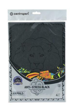 Centropen Antistress omalovánky Animals black 4 ks - neuveden