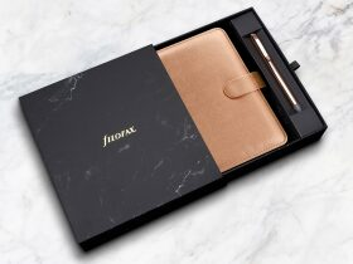 FILOFAX diář Saffiano 2021, osobní rose gold + pero limitovaná edice