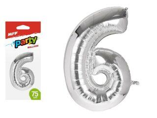 Balónek č.6 nafukovací fóliový 75 cm