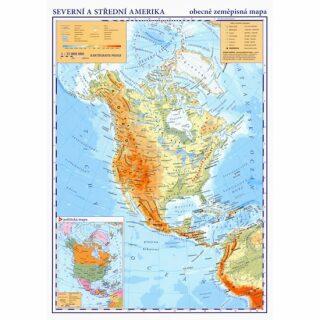Severní a střední Amerika - příruční obecně zeměpisná mapa A3/1:35 mil. - neuveden