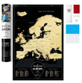 Stírací mapa Evropy Travel Map – Black Europe -