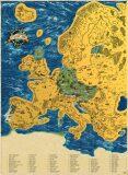 Stírací mapa Evropy Deluxe XL - zlatá - Giftio