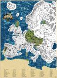 Stírací mapa Evropy Deluxe XL – stříbrná - Giftio