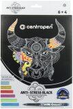 Černé antistresové omalovánky + 6 metalických popisovačů - Centropen