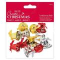 DOCRAFTS vánoční zvonečky - zlaté, stříbrné, červené 12 ks - DOCRAFTS