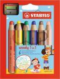 STABILO pastelky Woody 6 ks v pouzdře s ořezávatkem - STABILO