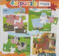 4x puzzle Pig, sheep, cow, horse - Modrý slon