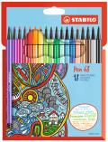 Fixa STABILO Pen 68 sada 18 ks v kartonovém pouzdru - STABILO