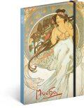 Notes Alfons Mucha – Hudba, linkovaný, 13 × 21 cm - Presco Group