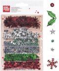 Dekorace 6 druhů - Vánoce stříbr/červené/zel - KANORG