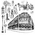 Gelová razítka na stěnu 30 x 30 cm - Historické město s kočárem - SMT Creatoys