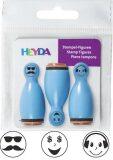 HEYDA Dřevěná razítka kuželky smajlíci - modré 3 ks - KANORG