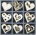 HEYDA Sada dřevěných dekorací v krabičce - srdce - KANORG