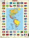 Puzzle MAXI - Mapa Ameriky + vlajky/70 dílků - Larsen