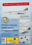 STS4412 Concorde British Airways & Singapore Airlines/papírový model v měřítku 1:150 - Skokan Pavel