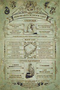 Plakát Harry Potter - Hogwarts School List