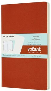 Moleskine - zápisníky Volant 2 ks - čistý, oranžový a modrý L