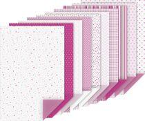Blok barevných papírů s motivy 20 listů A4 100g/220g růžový mix