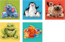 Puzzlika 13098: Zvířata s mláďaty 5 v 1 - puzzle 5 obrázků 33 dílků