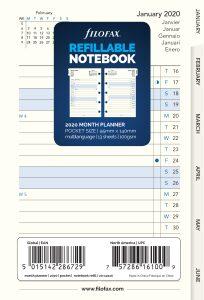 Filofax Notebook, kalendář 2021, kapesní, měsíční plán