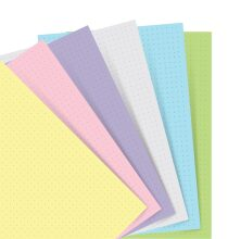 Filofax Náplň, kapesní, papír tečkovaný, mix barev pastel (6 barev)