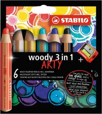 "Pastelky STABILO woody 3in1, sada 6 ks v pouzdru s ořezávátkem ""ARTY"""