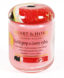 Svíčka Heart & Home - Svěží grep a černý rybíz (340 g)