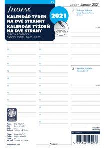 Filofax kalendář 2021 A5, týden/2 str, linky, ČJ+SJ