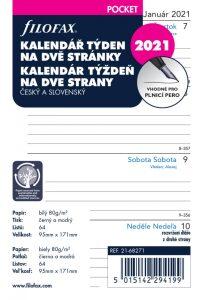 Filofax kalendář 2021 kapesní, týden/2 str, linky, ČJ+SJ