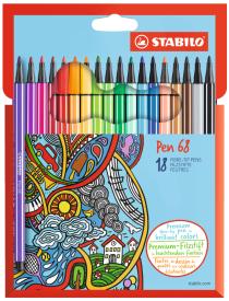 Fixa STABILO Pen 68 sada 18 ks v kartonovém pouzdru