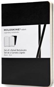 Moleskine - zápisníky Volant 2 ks - linkované, černé S