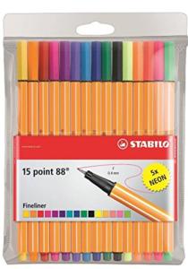 STABILO point 88 15 ks Pouzdro včetně 5 Neon Barev