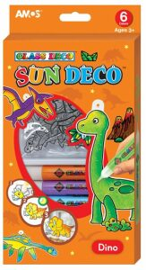 Barvy na sklo sada Dino - 6 barev 10,5 ml + 6 sklíček