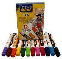 DARWI TEX fixy na světlý textil 6ml/3mm - sada 12ks