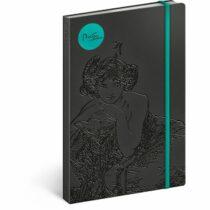 Notes - Alfons Mucha/Smaragd, linkovaný, 13 x 21 cm