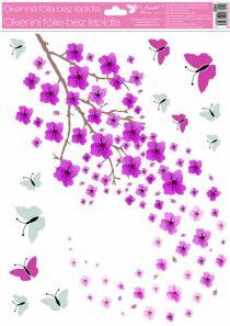 Okenní fólie 30 x 42cm - kvetoucí větvičky s glitry