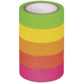 5 ks Páska lepicí papírová, neon, matná