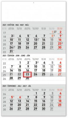 Nástěnný kalendář 3měsíční standard šedý