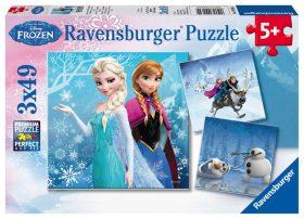 Puzzle Ledové království: dobrodružství na sněhu/3x49 dílků